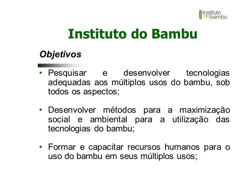 Objetivos Pesquisar e desenvolver tecnologias adequadas aos múltiplos usos do bambu, sob todos os aspectos; Desenvolver métodos para a maximização soc