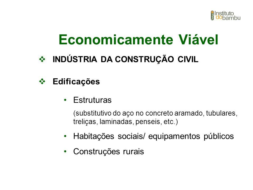 Economicamente Viável INDÚSTRIA DA CONSTRUÇÃO CIVIL Edificações Estruturas (substitutivo do aço no concreto aramado, tubulares, treliças, laminadas, p