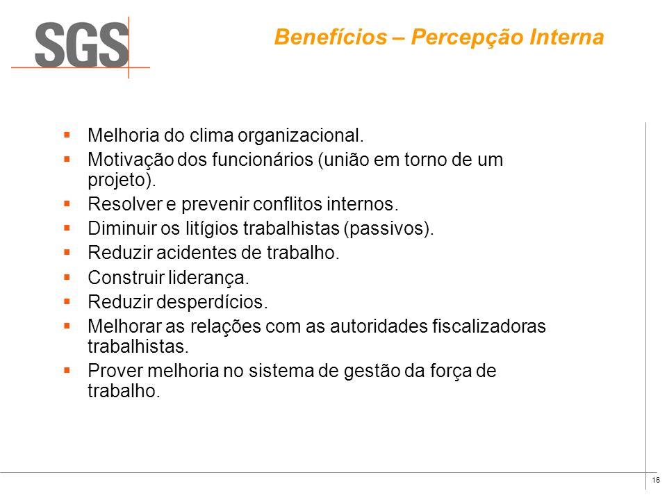 15 Benefícios com sua implementação Proporcionar uma estrutura para o desenvolvimento de sistema de gestão voltado para a Responsabilidade Social; Est