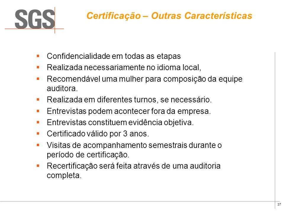 36 Recomendação para Certificação Ausência de não-conformidades maiores Não-conformidades maiores: Evidência de não cumprimento de requisito legal. Au