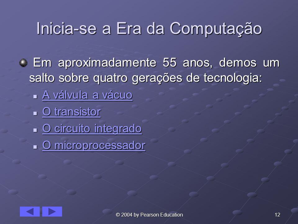 12 © 2004 by Pearson Education Inicia-se a Era da Computação Em aproximadamente 55 anos, demos um salto sobre quatro gerações de tecnologia: Em aproxi