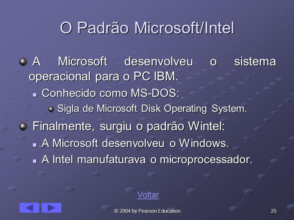 25 © 2004 by Pearson Education O Padrão Microsoft/Intel A Microsoft desenvolveu o sistema operacional para o PC IBM. A Microsoft desenvolveu o sistema