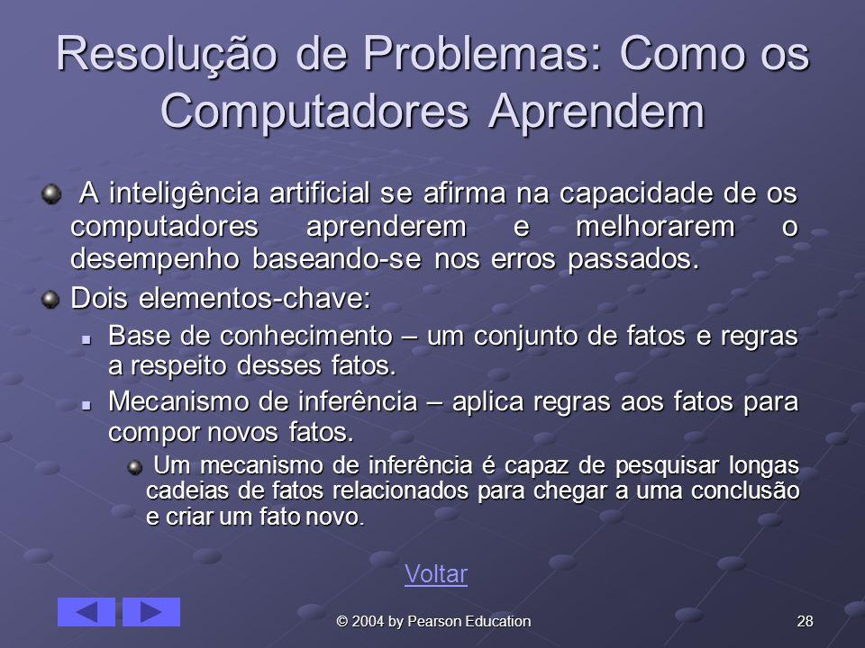 28 © 2004 by Pearson Education Resolução de Problemas: Como os Computadores Aprendem A inteligência artificial se afirma na capacidade de os computado