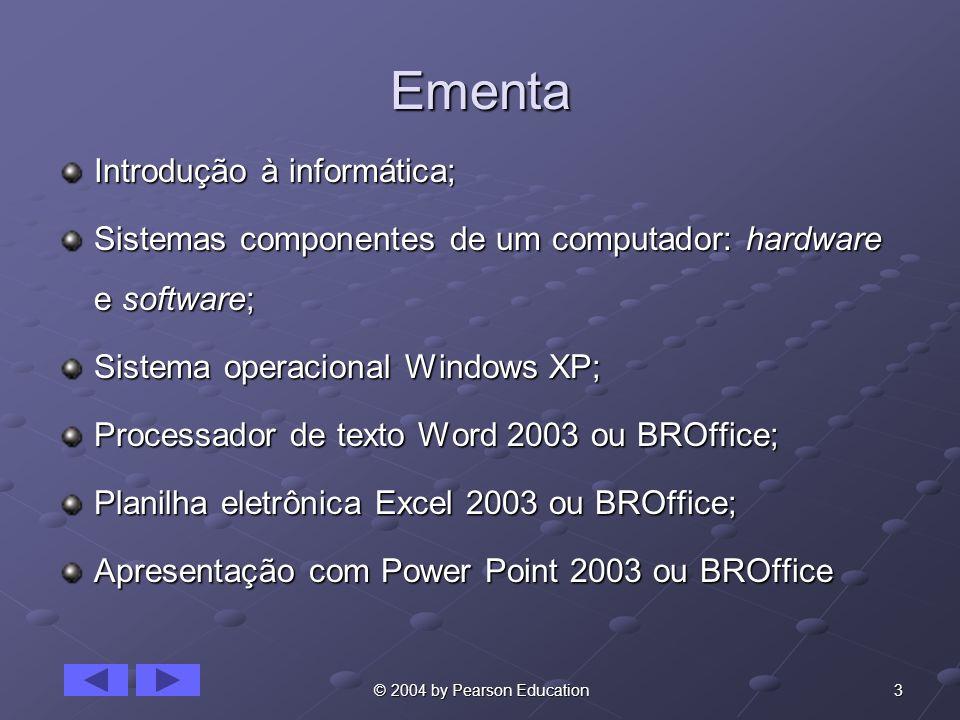 24 © 2004 by Pearson Education O Padrão de PC IBM Incluiu diversas inovações: Incluiu diversas inovações: Uma linha de tela de 80 caracteres.