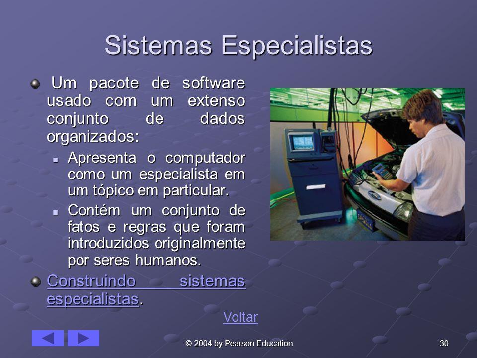 30 © 2004 by Pearson Education Sistemas Especialistas Um pacote de software usado com um extenso conjunto de dados organizados: Um pacote de software