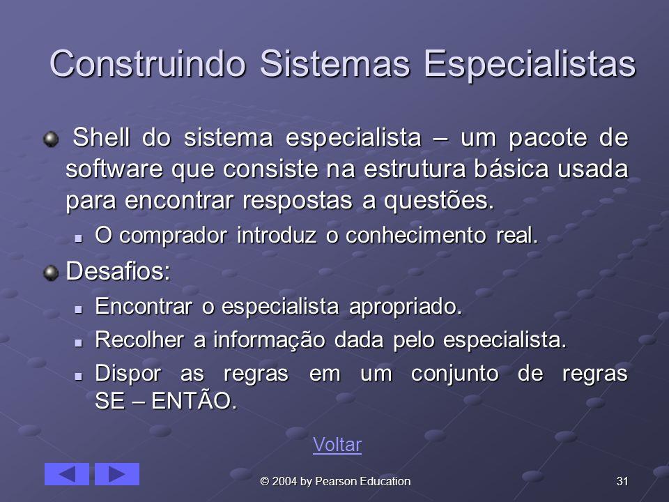 31 © 2004 by Pearson Education Construindo Sistemas Especialistas Shell do sistema especialista – um pacote de software que consiste na estrutura bási