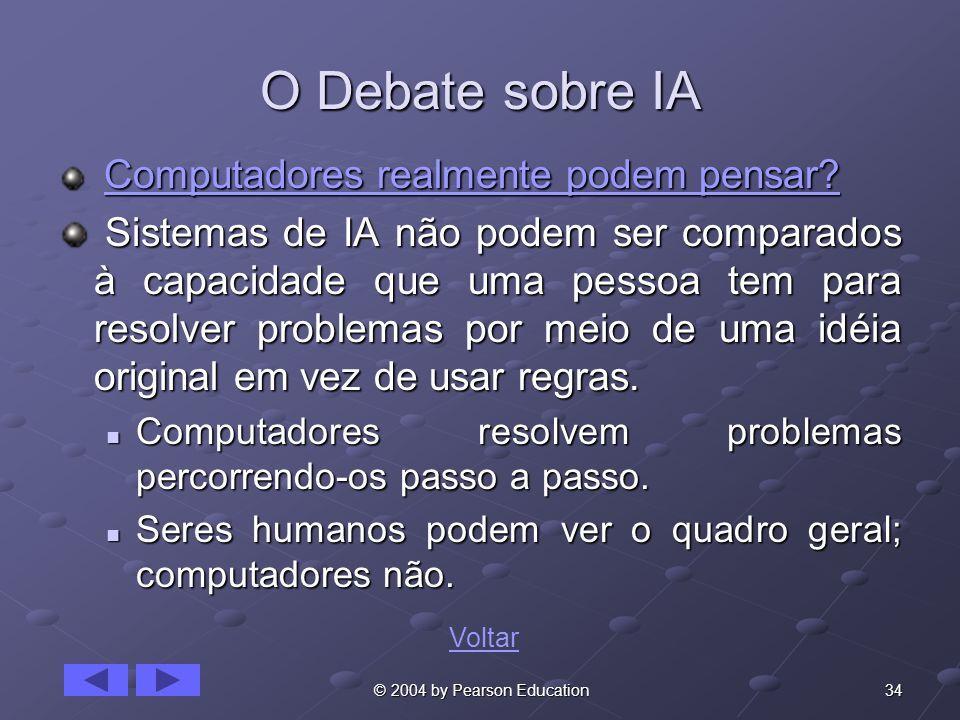 34 © 2004 by Pearson Education O Debate sobre IA Computadores realmente podem pensar? Computadores realmente podem pensar? Computadores realmente pode