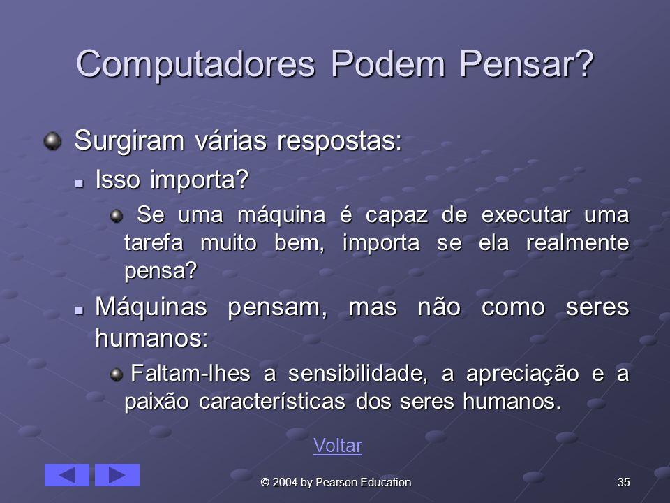 35 © 2004 by Pearson Education Computadores Podem Pensar? Surgiram várias respostas: Surgiram várias respostas: Isso importa? Isso importa? Se uma máq