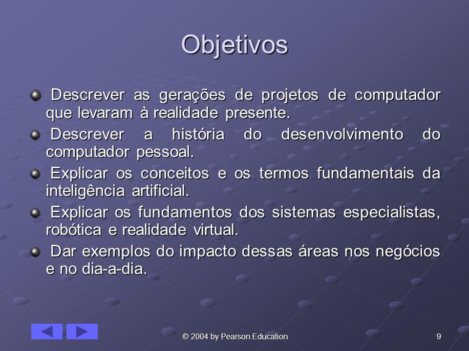 9 © 2004 by Pearson Education Objetivos Descrever as gerações de projetos de computador que levaram à realidade presente. Descrever as gerações de pro
