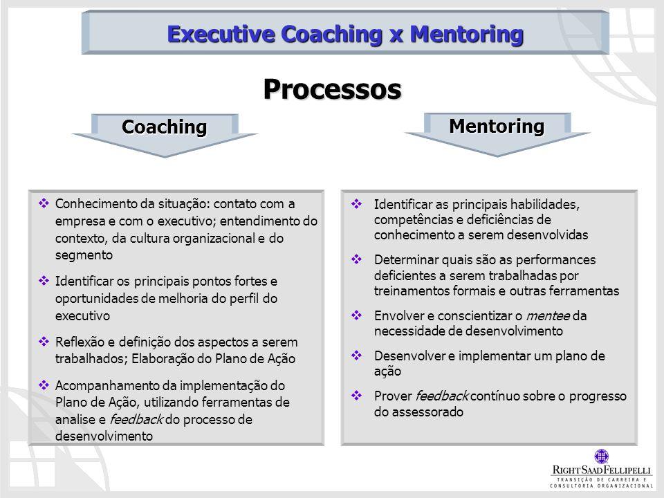 Processos Conhecimento da situação: contato com a empresa e com o executivo; entendimento do contexto, da cultura organizacional e do segmento Identif