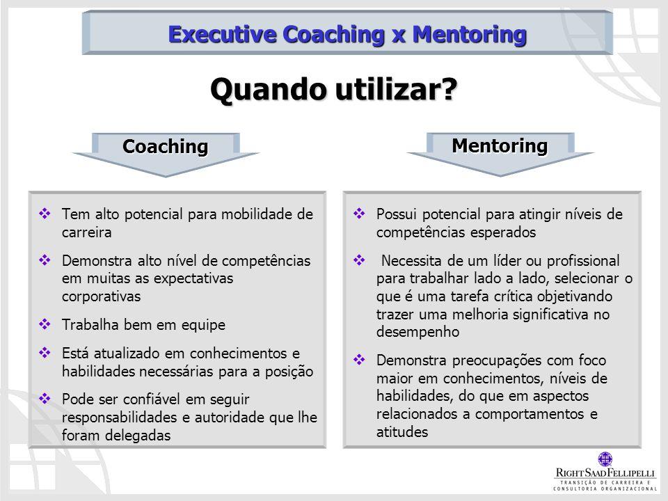 Quando utilizar? Tem alto potencial para mobilidade de carreira Demonstra alto nível de competências em muitas as expectativas corporativas Trabalha b