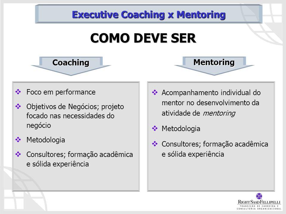 Foco em performance Objetivos de Negócios; projeto focado nas necessidades do negócio Metodologia Consultores; formação acadêmica e sólida experiência