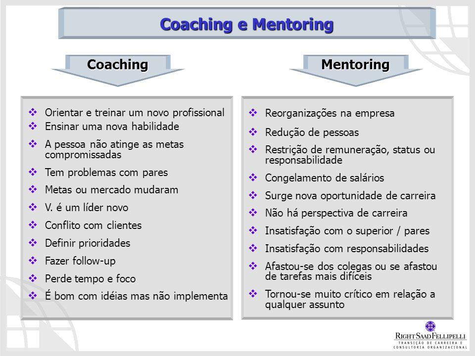 Orientar e treinar um novo profissional Ensinar uma nova habilidade A pessoa não atinge as metas compromissadas Tem problemas com pares Metas ou merca
