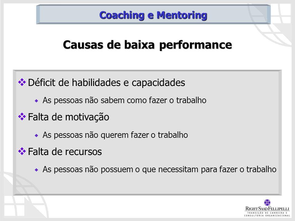 Causas de baixa performance Déficit de habilidades e capacidades As pessoas não sabem como fazer o trabalho Falta de motivação As pessoas não querem f