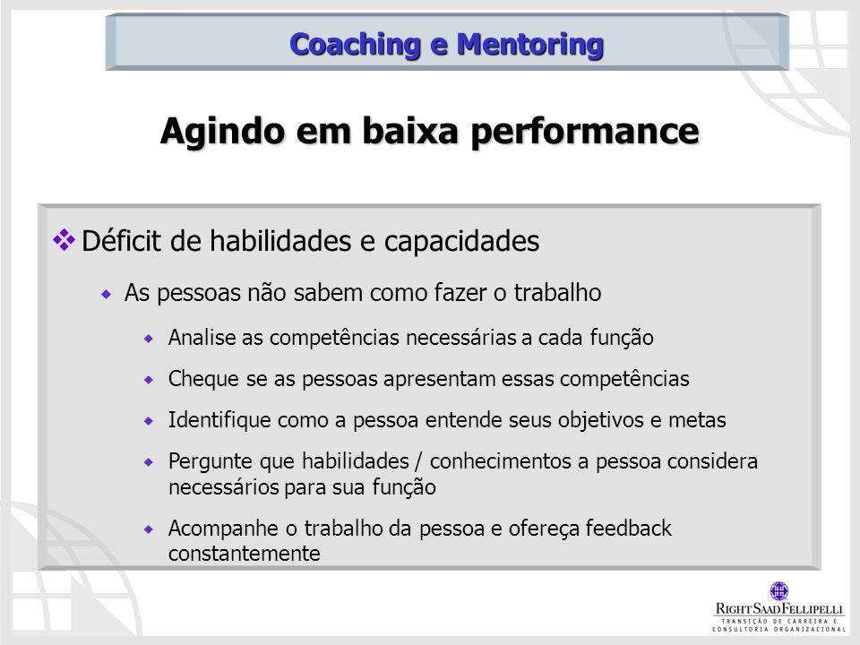 Agindo em baixa performance Déficit de habilidades e capacidades As pessoas não sabem como fazer o trabalho Analise as competências necessárias a cada