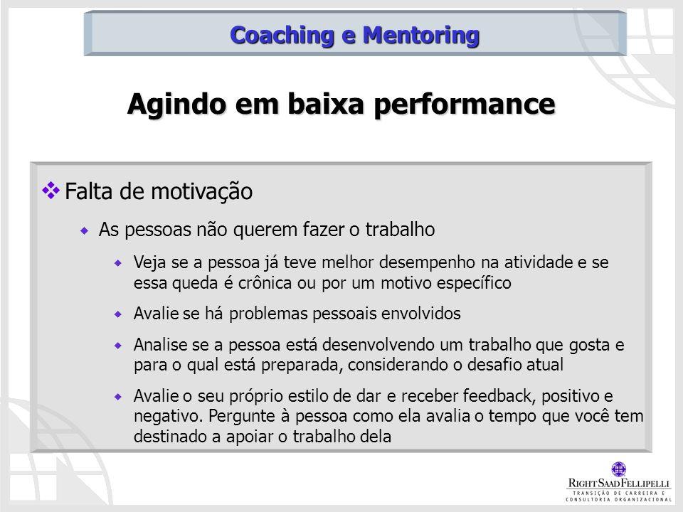 Agindo em baixa performance Falta de motivação As pessoas não querem fazer o trabalho Veja se a pessoa já teve melhor desempenho na atividade e se ess
