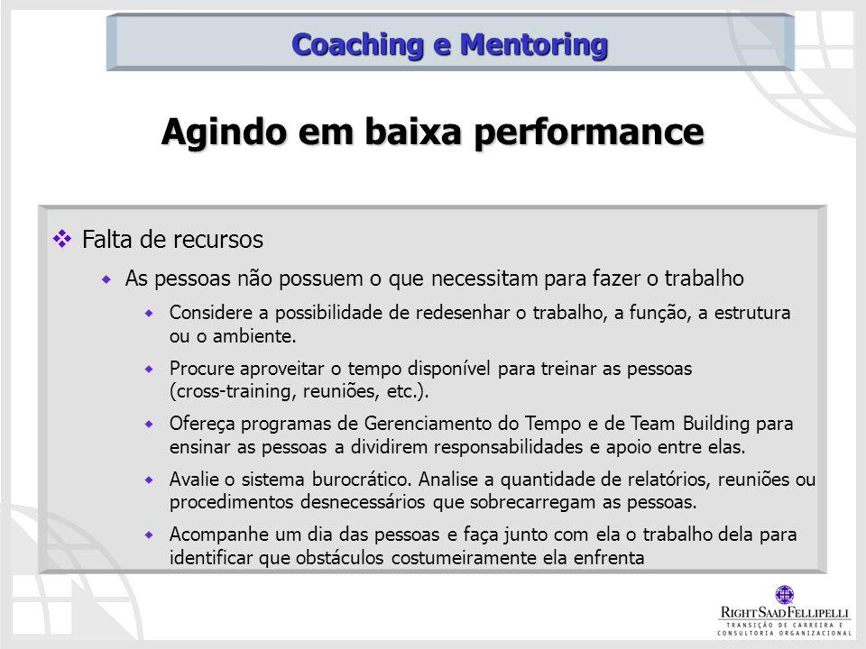 Agindo em baixa performance Falta de recursos As pessoas não possuem o que necessitam para fazer o trabalho Considere a possibilidade de redesenhar o
