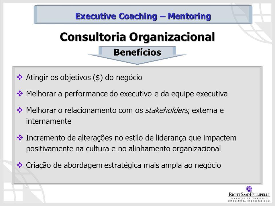 Consultoria Organizacional Atingir os objetivos ($) do negócio Melhorar a performance do executivo e da equipe executiva Melhorar o relacionamento com