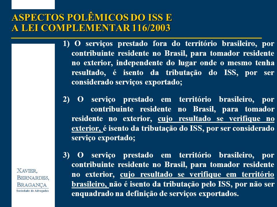 ASPECTOS POLÊMICOS DO ISS E A LEI COMPLEMENTAR 116/2003 1) O serviços prestado fora do território brasileiro, por contribuinte residente no Brasil, pa