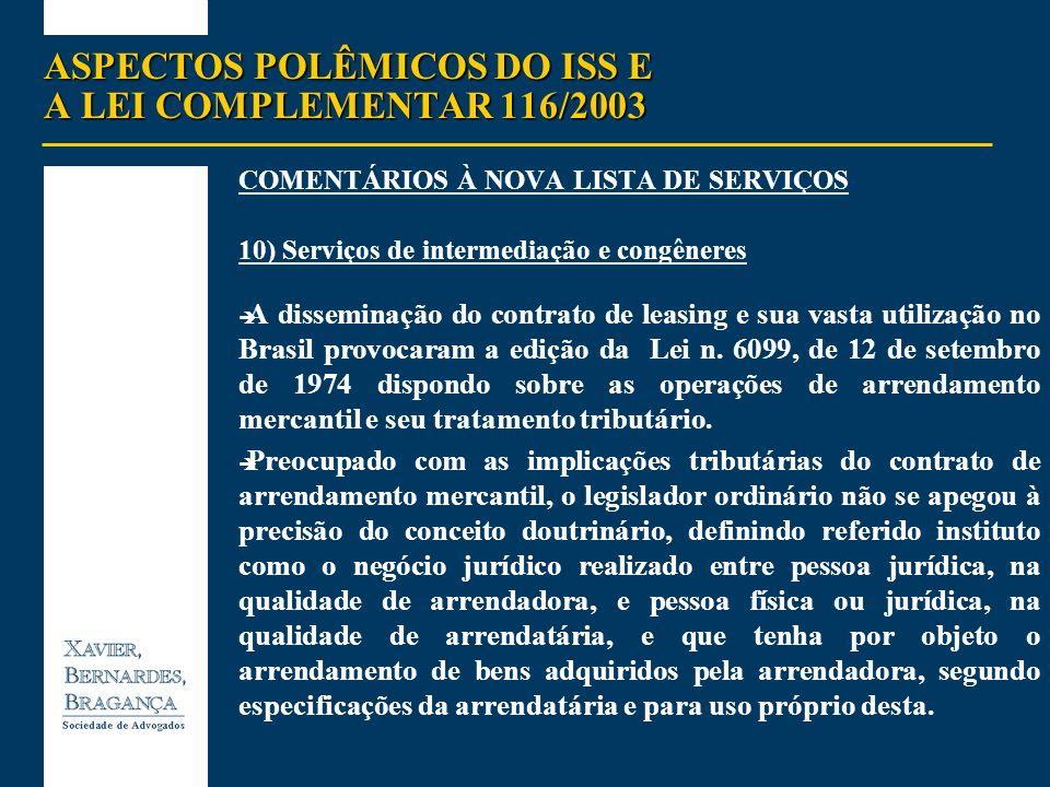 ASPECTOS POLÊMICOS DO ISS E A LEI COMPLEMENTAR 116/2003 COMENTÁRIOS À NOVA LISTA DE SERVIÇOS 10) Serviços de intermediação e congêneres ) A disseminaç