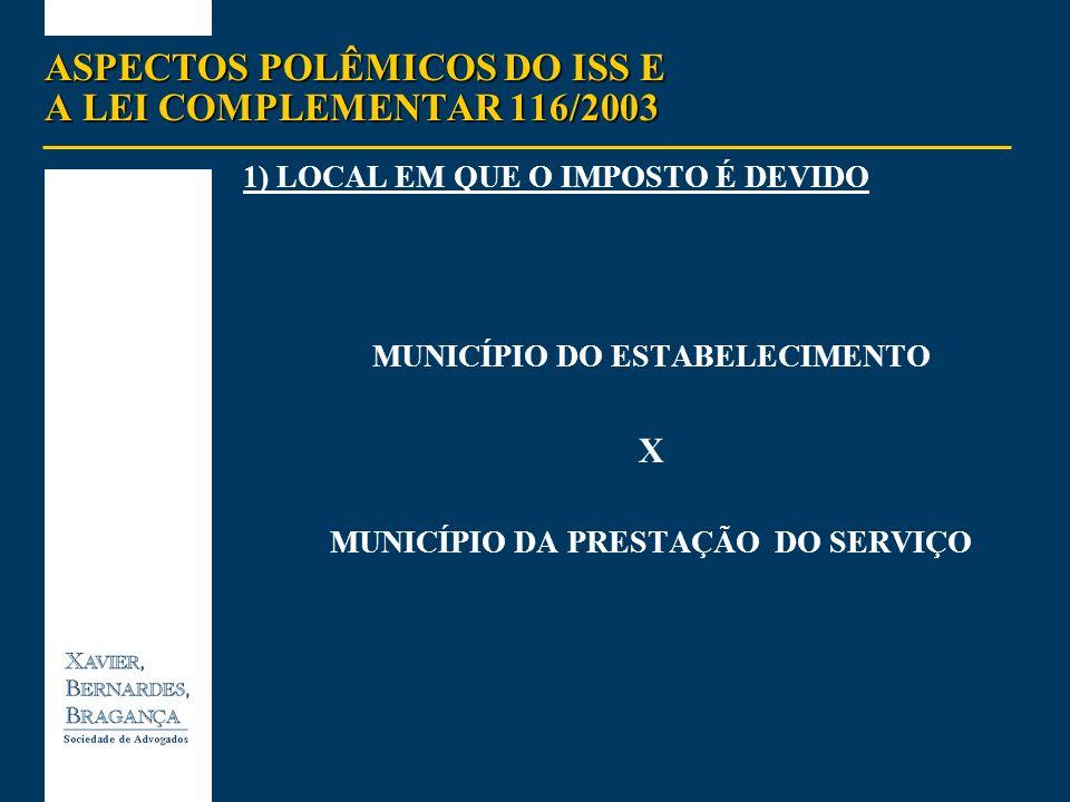ASPECTOS POLÊMICOS DO ISS E A LEI COMPLEMENTAR 116/2003 LEI COMPLEMENTAR 116 DE AGOSTO DE 2003 alterações importantes em outros aspectos do ISS, especialmente: (i) a desoneração dos serviços exportados ao exterior (art.