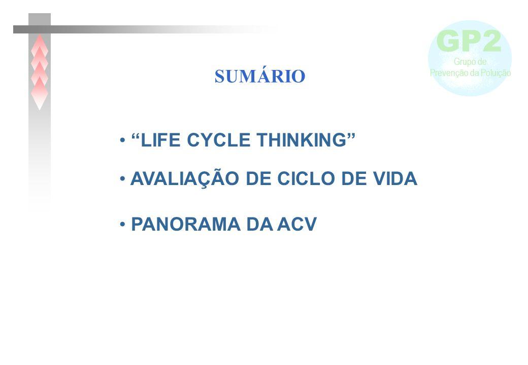 GP2 Grupo de Prevenção da Poluição LIFE CYCLE THINKING AVALIAÇÃO DE CICLO DE VIDA PANORAMA DA ACV SUMÁRIO
