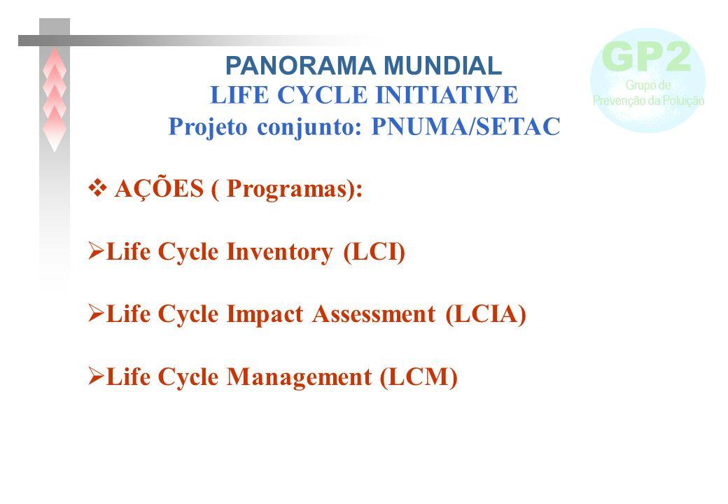 GP2 Grupo de Prevenção da Poluição AÇÕES ( Programas): Life Cycle Inventory (LCI) Life Cycle Impact Assessment (LCIA) Life Cycle Management (LCM) LIFE