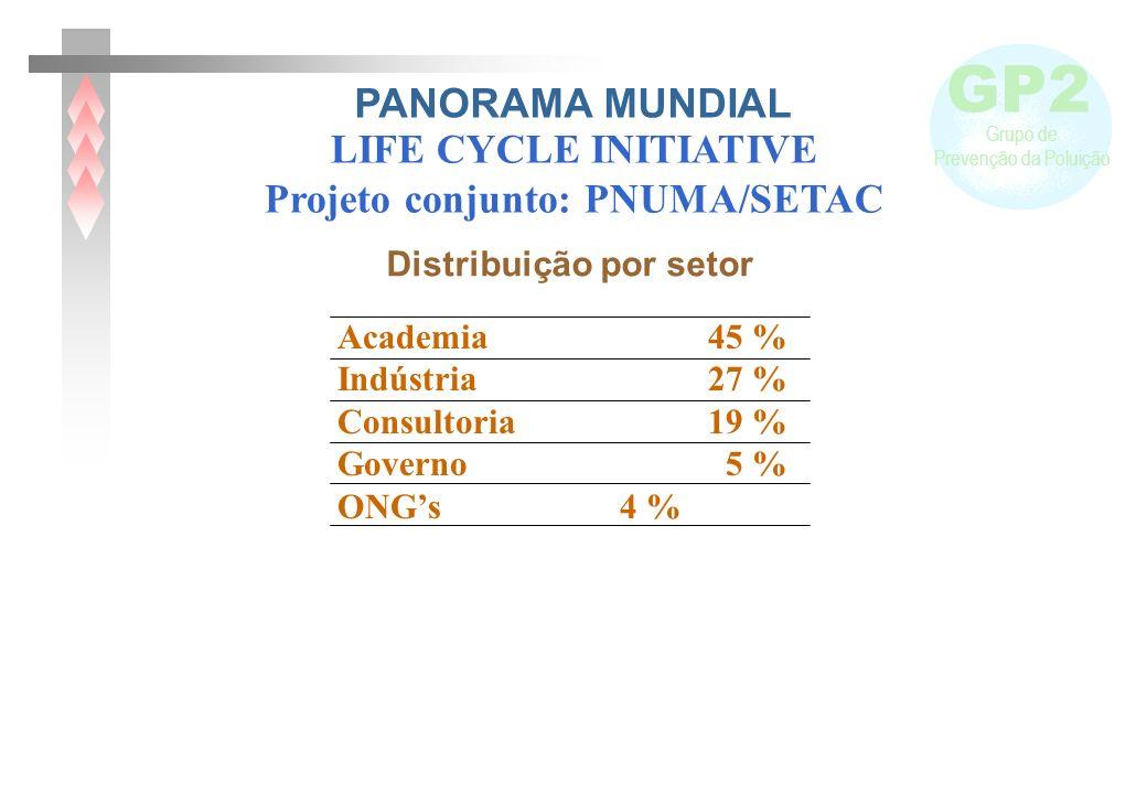 GP2 Grupo de Prevenção da Poluição Academia 45 % Indústria 27 % Consultoria 19 % Governo 5 % ONGs 4 % Distribuição por setor LIFE CYCLE INITIATIVE Pro