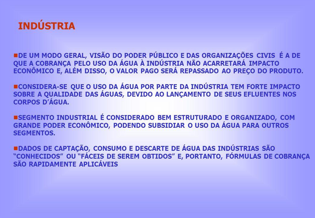 INDÚSTRIA DE UM MODO GERAL, VISÃO DO PODER PÚBLICO E DAS ORGANIZAÇÕES CIVIS É A DE QUE A COBRANÇA PELO USO DA ÁGUA À INDÚSTRIA NÃO ACARRETARÁ IMPACTO