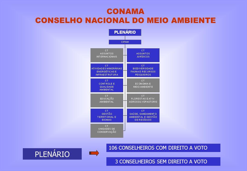 CONAMA CONSELHO NACIONAL DO MEIO AMBIENTE PLENÁRIO 106 CONSELHEIROS COM DIREITO A VOTO 3 CONSELHEIROS SEM DIREITO A VOTO