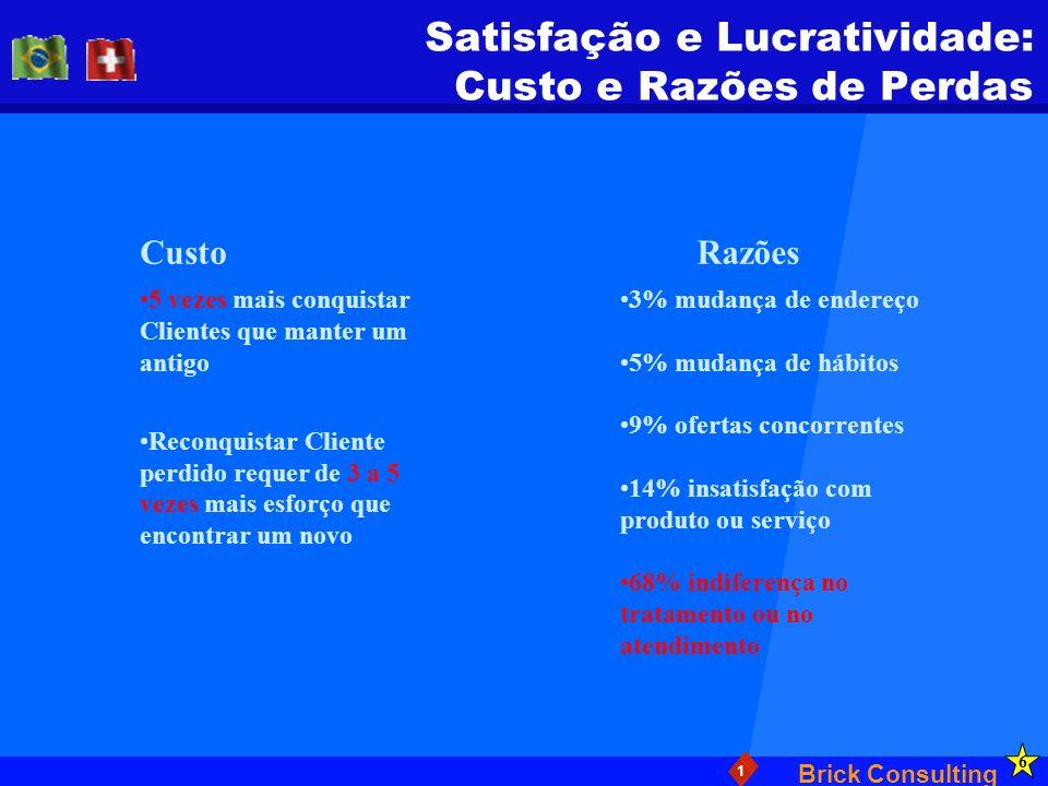 Brick Consulting 1 Satisfação e Lucratividade: Custo e Razões de Perdas CustoRazões 5 vezes mais conquistar Clientes que manter um antigo Reconquistar