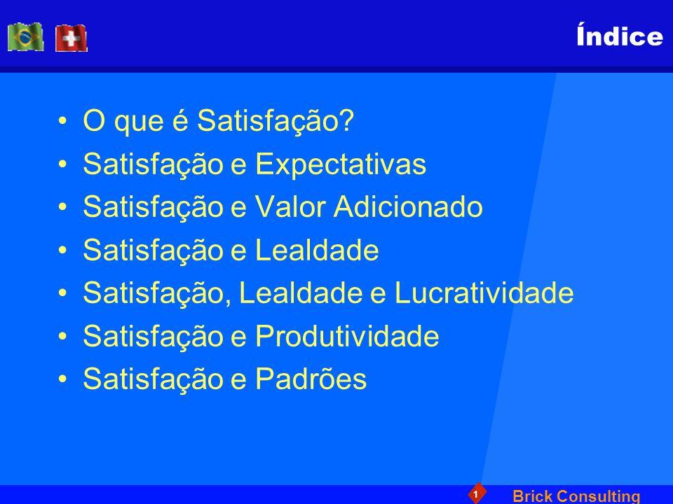 Brick Consulting 1 Índice O que é Satisfação? Satisfação e Expectativas Satisfação e Valor Adicionado Satisfação e Lealdade Satisfação, Lealdade e Luc