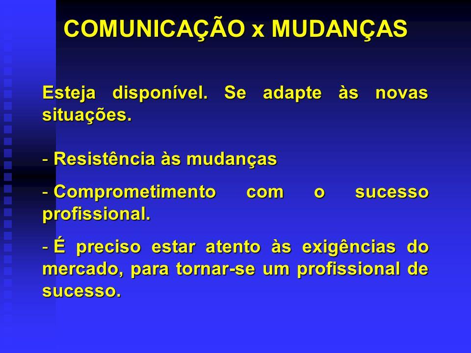 COMUNICAÇÃO x MUDANÇAS Esteja disponível.Se adapte às novas situações.