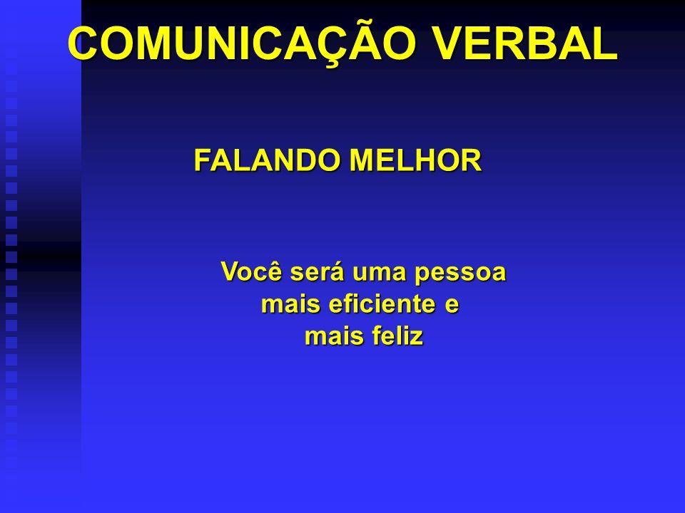 COMUNICAÇÃO VERBAL FALANDO MELHOR Você será uma pessoa mais eficiente e mais feliz
