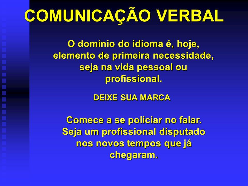 COMUNICAÇÃO VERBAL O domínio do idioma é, hoje, elemento de primeira necessidade, seja na vida pessoal ou profissional.
