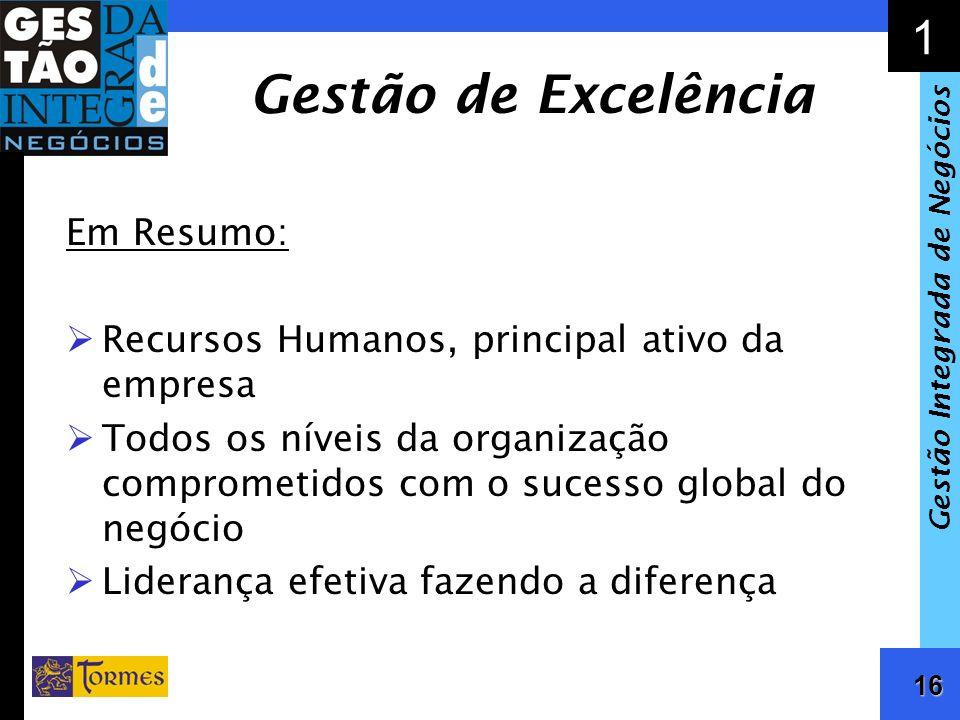 16 1 Gestão Integrada de Negócios Gestão de Excelência Em Resumo: Recursos Humanos, principal ativo da empresa Todos os níveis da organização comprome