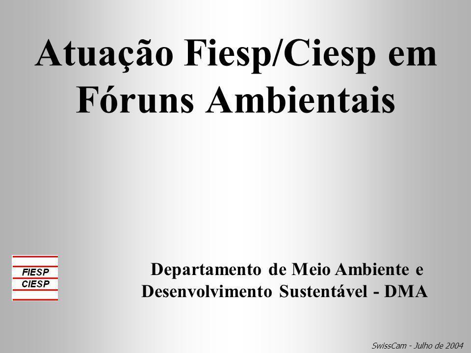 Atuação Fiesp/Ciesp em Fóruns Ambientais Departamento de Meio Ambiente e Desenvolvimento Sustentável - DMA SwissCam - Julho de 2004
