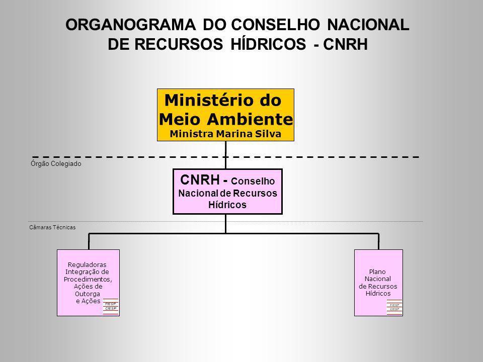 ORGANOGRAMA DO CONSELHO NACIONAL DE RECURSOS HÍDRICOS - CNRH CNRH - Conselho Nacional de Recursos Hídricos Órgão Colegiado Ministério do Meio Ambiente