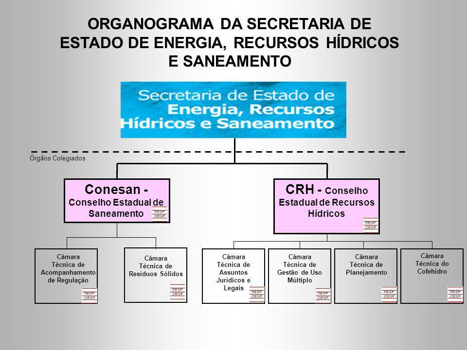 ORGANOGRAMA DA SECRETARIA DE ESTADO DE ENERGIA, RECURSOS HÍDRICOS E SANEAMENTO Conesan - Conselho Estadual de Saneamento CRH - Conselho Estadual de Re