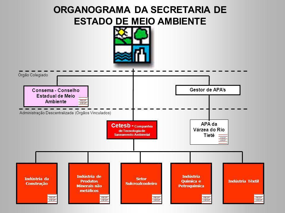 APA da Várzea do Rio Tietê Indústria Química e Petroquímica Indústria da Construção ORGANOGRAMA DA SECRETARIA DE ESTADO DE MEIO AMBIENTE Consema - Con