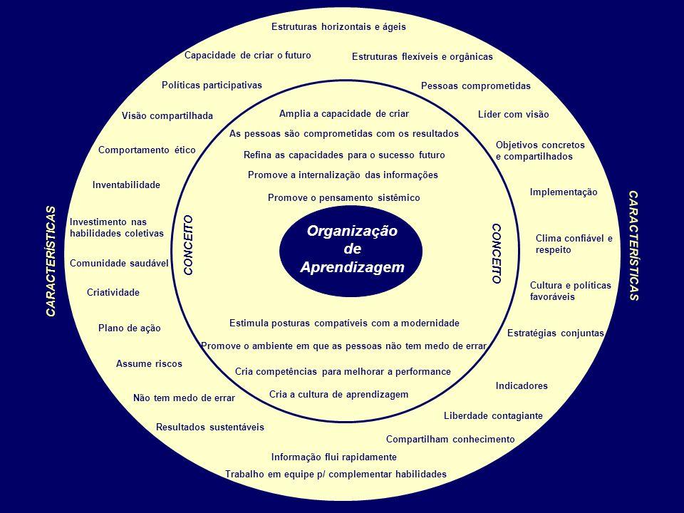 CARACTERÍSTICAS Plano de ação Líder com visão Capacidade de criar o futuro Políticas participativas Compartilham conhecimento Trabalho em equipe p/ co