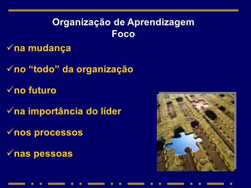 na mudança no todo da organização no futuro na importância do líder nos processos nas pessoas Organização de Aprendizagem Foco