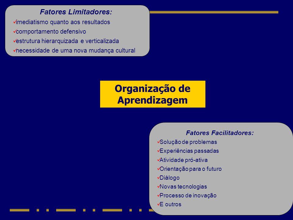 Organização de Aprendizagem Fatores Limitadores: imediatismo quanto aos resultados comportamento defensivo estrutura hierarquizada e verticalizada nec