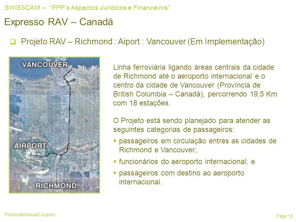 PricewaterhouseCoopers SWISSCAM – PPPs Aspectos Jurídicos e Financeiros Page 15 Expresso RAV – Canadá Projeto RAV – Richmond : Aiport : Vancouver (Em Implementação) Linha ferroviária ligando áreas centrais da cidade de Richmond até o aeroporto internacional e o centro da cidade de Vancouver (Província de British Columbia – Canadá), percorrendo 19,5 Km com 18 estações.