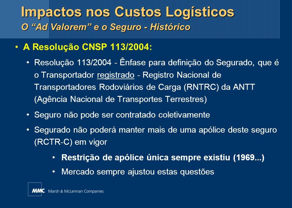 A Resolução CNSP 113/2004: Resolução 113/2004 - Ênfase para definição do Segurado, que é o Transportador registrado - Registro Nacional de Transportad