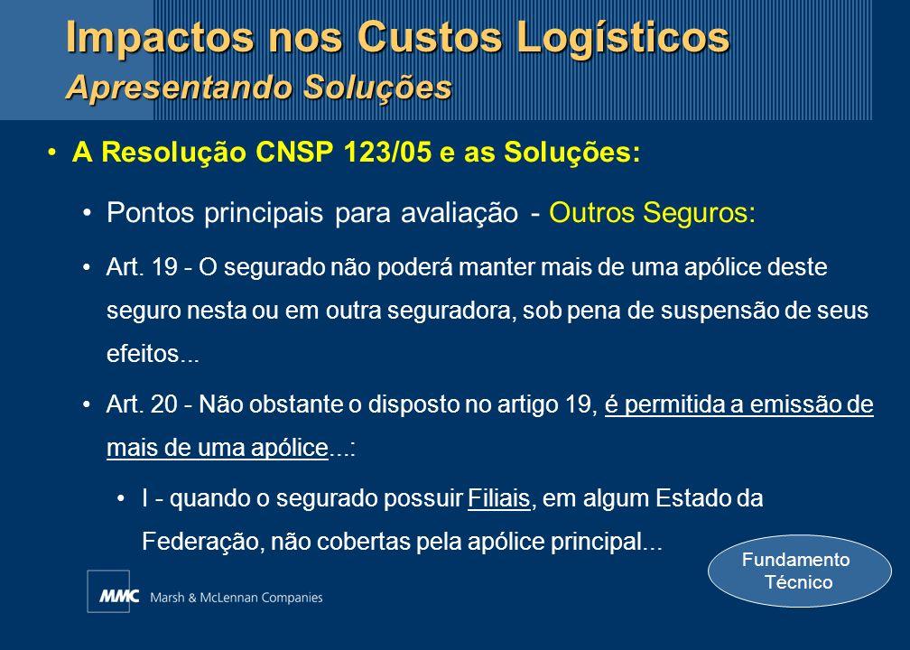 A Resolução CNSP 123/05 e as Soluções: Pontos principais para avaliação - Outros Seguros: Art. 19 - O segurado não poderá manter mais de uma apólice d