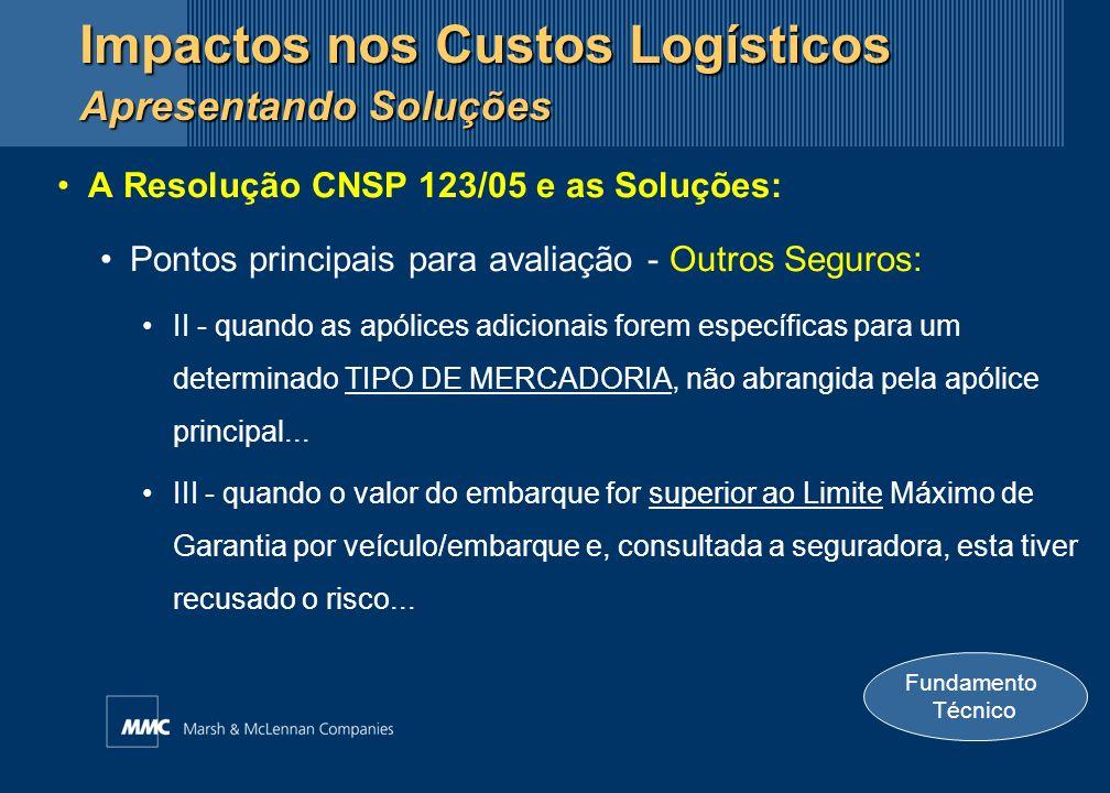 A Resolução CNSP 123/05 e as Soluções: Pontos principais para avaliação - Outros Seguros: II - quando as apólices adicionais forem específicas para um