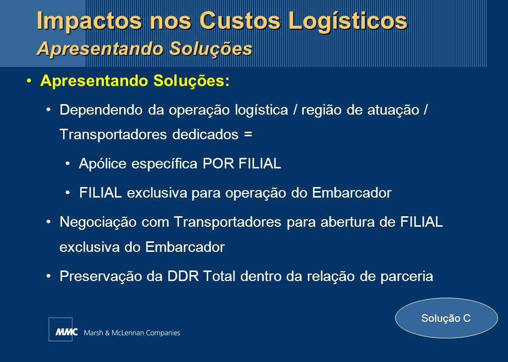 Apresentando Soluções: Dependendo da operação logística / região de atuação / Transportadores dedicados = Apólice específica POR FILIAL FILIAL exclusi