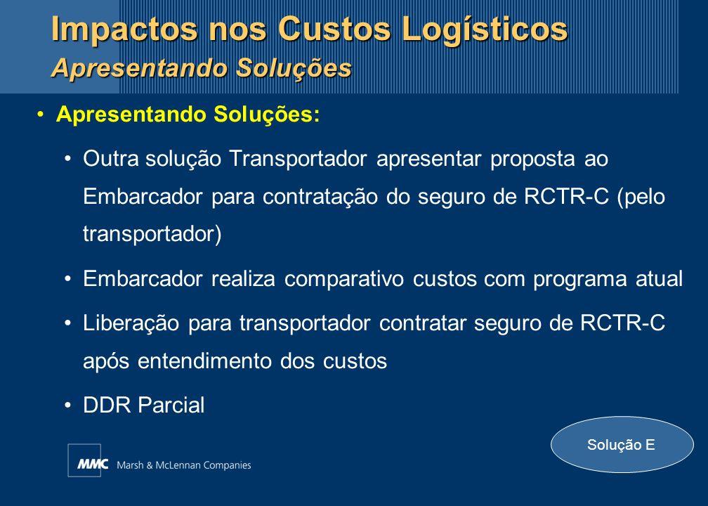 Apresentando Soluções: Outra solução Transportador apresentar proposta ao Embarcador para contratação do seguro de RCTR-C (pelo transportador) Embarca
