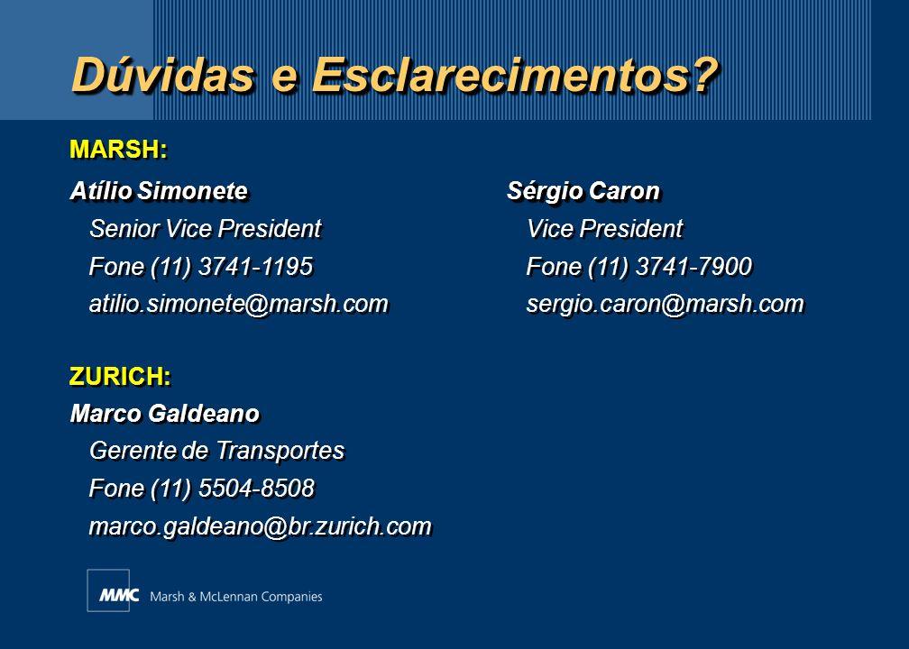 Dúvidas e Esclarecimentos? MARSH: Atílio SimoneteSérgio Caron Senior Vice President Vice President Fone (11) 3741-1195 Fone (11) 3741-7900 atilio.simo